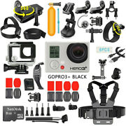 Gopro Hero3+ Plus Black Edition Camcorder With 40pcs Accessory Waterproof Case
