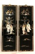 Pair Of Vintage Oriental Chinese Black Lacquer Wall Plaques Asian