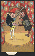 Punch And Judy-puppets-mechanical-pfb-novelty-antique Postcard