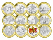 Special Edition 2013 O Canada 10 Fine Silver 12-coin Set With Gold Plating
