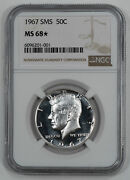 1967 Sms Kennedy Half Dollar 50c Ngc Ms 68 Mint State Unc Star 001