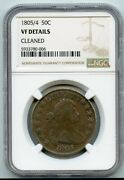 1805/4 Drapped Bust Half Dollar 50c Ngc Vf Details Cleaned