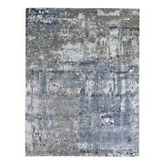 8and039x10and039 Farsian Knot Abstract Design Wool Denser Weave Hand Knotted Rug R66372
