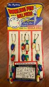Vintage 1952 Bowling Pin And Ball Puzzle Full Retail Key Chains Display - 12 Pc