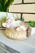 5.7 Welcome Cat Figurine Statue Lifelike Collectible Animal Home Decoration