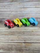 Set Of 4 Vintage Toy Wooden Race Cars