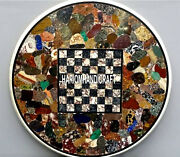 White Marble Multi Chess Coffee Table Top Mosaic Real Handmade Inlay Decor H3791