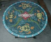 Stylish Marble Custom Tops Table Mosaic Inlay Collectible Outdoor Decorate H3925