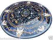Size 3and039x3and039 Marble Dining Side Corner Table Top Lapis Inlaid Kitchen Decor H1629