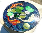 Marble Top Lapis Dining Table Fish Mosaic Stone Inlay Art Garden Decorated H4028