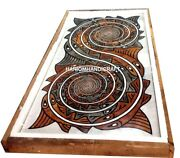 Exclusive Marble Modern Top Dining Table Rare Intricate Arts Inlay Home Decor