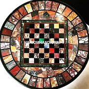 Black Marble Coffee Table Beautiful Chess Top Mosaic Inlay Arts Home Decor H3984