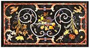 Black Marble Dining Table Top Rare Gem Birds Mosaic Inlay Marquetry Decor H2455