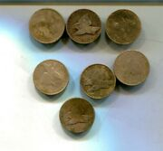 1857 1958 Flying Eagle Penny Type Coin Lot Of 7 Cleaned Vg Fine