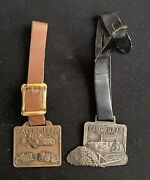 Lot Of 2 Vintage Caterpillar Heavy Equipment Pocket Watch Fobs With Straps