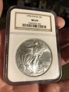 1996 1 Silver Eagle Ms 69 Ngc King Of Silver Eagles Scarce Date