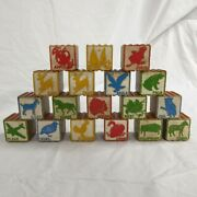 Wooden Toy Blocks Lot Of 18 Vintage Antique 1 5/8 Inch Alphabet Ribbed Stacking