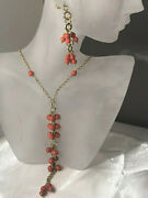 18k Yellow Gold Natural Coral Necklace And Earrings - Signed Herco - Italy