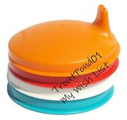 Tupperware Sipper Seals Set 4 Sippy Tops Lids Colors Blue White Red Orange New