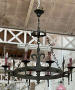 Large French Rustic Medieval Iron Chandelier Or Ceiling Light C1920s
