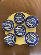 Vintage Blue + White China - 6 Cup + Saucer Sets And 7 Dessert Plates -ironstone