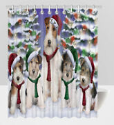 Pet Lovers Christmas Family Portrait Wire Fox Terrier Dogs Shower Curtain