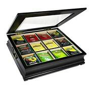 Tea Chest Large Storage Tea Bag Box Wooden With Beveled Glass Window 12