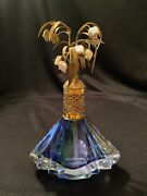 Vtg Ornate Filigree Jeweled Irice Perfume Bottle Blue Glass Lily Of The Valley