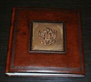 Leather Photo Album Coat Of Arms Of Russia In A Leather Suitcase.