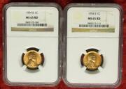 1954 Ngc Ms 65 Red D And S Mint Lincoln Wheat Cent Pair 2 Ngc Certified Coins