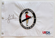 Tiger Woods Autographed 2002 Us Open Bethpage Blac Pin Flag Signed Uda Le 64/500
