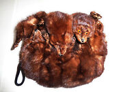 Dark Brown Mink Fur Muff With Heads Feet And Tails Lined Zipper Compartment