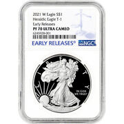 2021 W American Silver Eagle Proof - Ngc Pf70 Ucam Early Releases