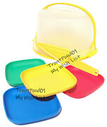Tupperware Children's Mini Party Cake Taker Plates Primary Red Yellow Blue Green