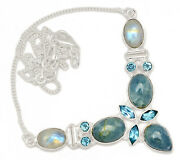 22g Solid 925 Sterling Silver Aquamarine - Brazil And Moonstone Necklace Sn18501