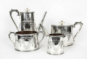 Antique Victorian Silver Plated Four Piece Tea And Coffee Set Elkington 19th C