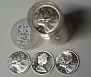 Roll Of 40 Proof-like 1966 Canada Silver 25 Cents Uncirculated 6 Troy Ounces