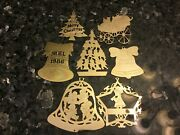 Lot Of Metal Christmas Tree Decorations Brass Gold Vernon