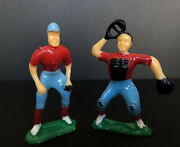 Vintage Plastic Baseball Players Sports Decorations Gift Cake Toppers Set Of 2