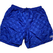 Vintage 90s Umbro Youth Xl Mens S Checkered Metallic Blue Embroidered Shorts
