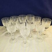 Lead Crystal Cut Wine Glasses Set Of 11 Frosted Grapes Leaves Goblets Stemware