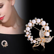 Pearl And Rhinestone Circle Brooches For Women Elegant Butterfly Brooch Pins