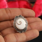 925 Sterling Silver Ring Natural Shiva Shell Gemstone All Size Rings Gift