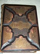 Antique Swedish Table Top Family Bible Copy 1889 Leather Cover Giffen Bros.