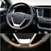 Wood Grain Steering Wheel Round Cover Trim Fit For Toyota Highlander 2014-2019