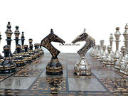 14 Handcrafted Russian Soviet Series Metal Chess Pieces And Board Set Velvet Box