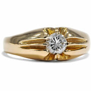 Antique 750 Gold Ring With Modern 032 Ct Diamond Solitaire Brilliant Solitaire