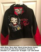 Betty Boop Black Denim Motorcycle Jacket Size Small Born To Be Wild Jh Design