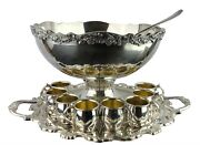 Silverplate Footed Vtg Punch Bowl Set 8 Cups Tray And Ladle Signed Towle 34946