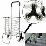 Folding Shopping Cart Jumbo Basket Grocery Laundry Travel With 6 Stair  .